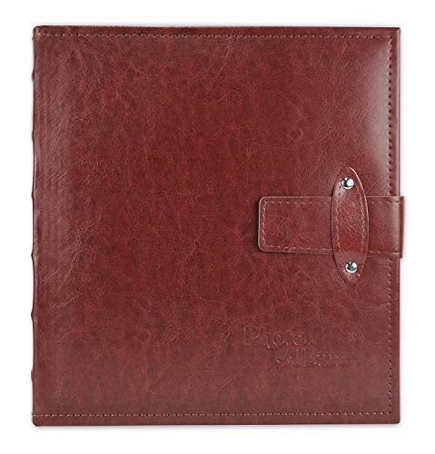Art Leather Albums - Golden State Art, Maroon Photo Album, Faux Leather Cover, with Strap Closure, 200 Pocket for 5x7 Pictures, 2 Per Page (6223)