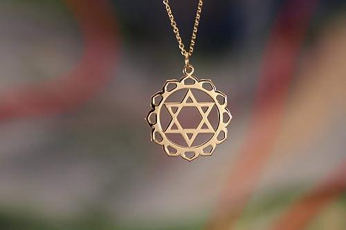 anahata Heart chakra necklace boho handmade fairtrade chakra chains gold