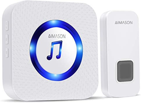 Wireless Doorbell Aimason 1300ft Remote Door Bells Waterproof Ip55 Door Chime Kit With 5 Level Volume 55 Chimes Blue Light 1 Plug In Receiver For Home White Amazon Com