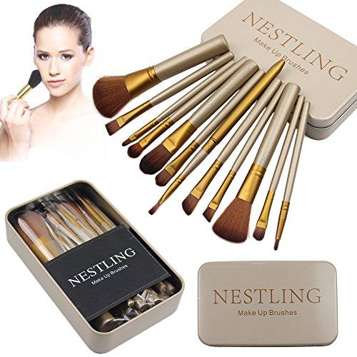 Fard à joues de nestling® 12 Pcs bambou manipuler pinceaux Kabuki poudre teint pinceaux avec boite maquillage