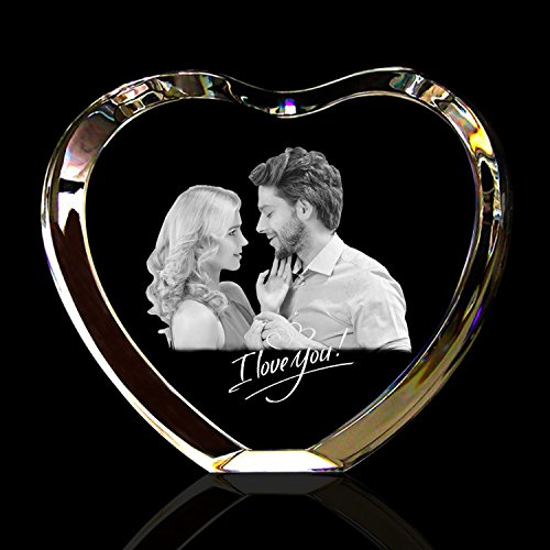 Qianruna Personalized Custom 2D/3D Laser Engraving Etched Crystal Glass Photo Picture Heart Block(Valentine's Day, wedding, mother's day, father's day, graduation, remembrance, memorial (3 D Pictures)