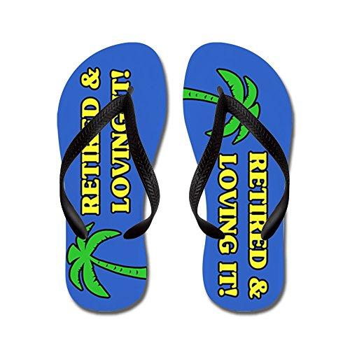 CafePress Retired & Loving It! - Flip Flops, Funny Thong Sandals, Beach Sandals Black