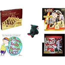 Children's Fun & Educational Gift Bundle - Ages 6-12 [5 Piece] - Classic Wood Folding Chess Set Game - Star Wars Episode I R2-D2 Shaped 100 Piece Puzzle - Ty Holiday TeddyBeanie Buddy Plush - Is Th