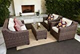 Quality Outdoor Living 65-5173833A Freeport All-Weather Wicker 4 Piece Deep Seating Set, Brown Tan Cushions