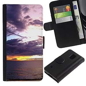 KingStore / Leather Etui en cuir / Samsung Galaxy S5 V SM-G900 / Coucher de soleil mer océan romantique Eté Nature
