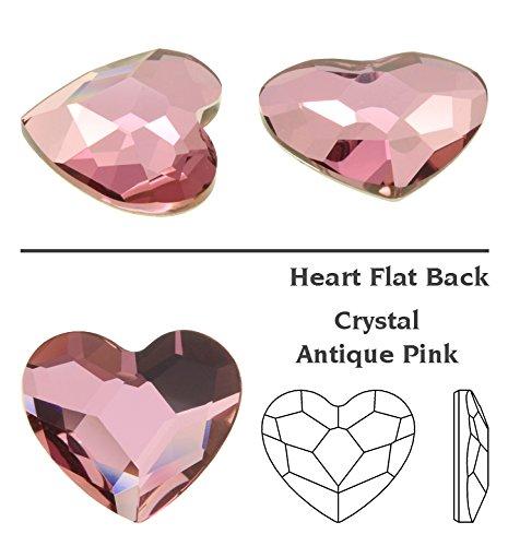 Swarovski Crystals Heart Flat Back Article 2808 - Small Pack-Antique Pink-6Mm-4 Swarovski Element