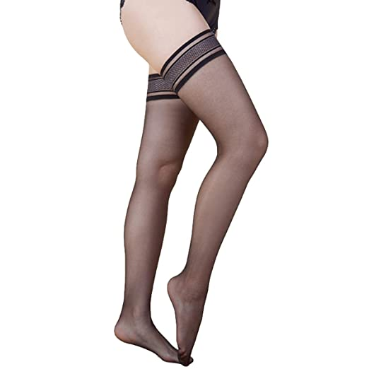 70f15ba2218 Blostirno Lace Thigh High Ultra-sheer Stockings Silicone Top Hold Up Nude  Nylon Pantyhose 10
