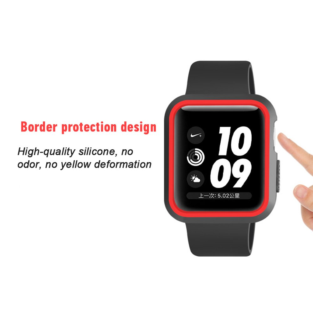 GerTong Armor Apple Watch Case 38mm with Resilient Shock Absorption for Apple Watch Series 3 2 1 and Nike Sport Edition (Black and red) by GerTong (Image #4)