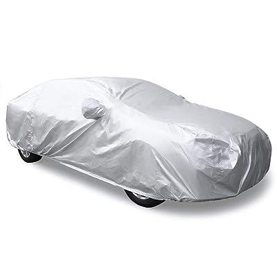 uxcell 3XL Silver Tone 190T Car Cover Outdoor Weather Waterproof Scratch Rain Snow Heat Resistant W Mirror Pocket 490 x 180 x 160cm: Automotive