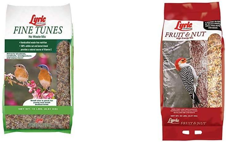 Lyric 2647440 Fine Tunes No Waste Bird Seed Mix, 15 lb & 2647417 Fruit & Nut High Energy Wild Bird Food, 20 lb
