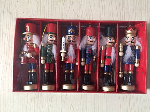 6 pcs per set soldier nutcrackers in classical suit, 5inch/12.7cm tall handmade wooden nutcrackers , christmas tree decoration Arpoador