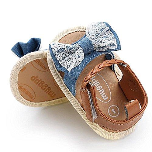 huateng Baby Mädchen Erste Wanderschuhe Sommer Spitze Sandalen Rutschfeste Schmetterling Lace Kleinkind Schuhe Cowboy-Spitze