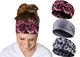 Devlin Headbands for Womens Yoga Workout Fitness Running Boho Print Wide Headband set of 3