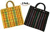 Mexican Market Bag, 12 inches, Reusable Bags. Set of 2. Black and Yellow