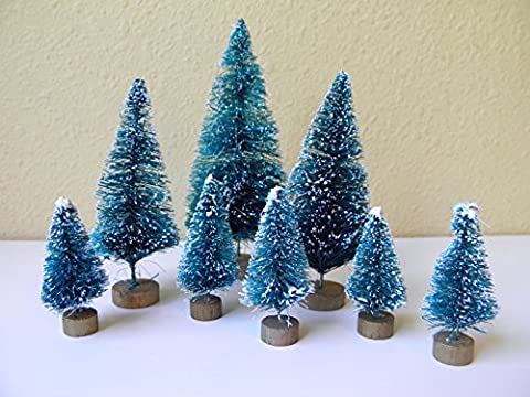 8 ^^ ^ Mini Green Sisal Bottle Brush CHRISTMAS TREES ~ Snow Frost Village Putz