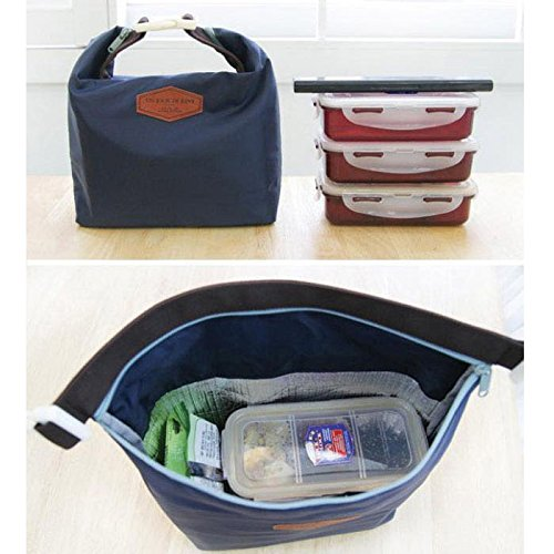 HighlifeS Lunch Bag Waterproof Thermal Fashion Cooler Insulated Lunch Box More Colors Portable Tote Storage Picnic Bags (Navy) by HighlifeS (Image #1)