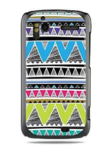"GRÜV Premium Case - ""Geometric Chevron Tribal Sketch Pattern"" Design - Best Quality Designer Print on Black Hard Cover - for HTC G14 G18 Sensation XE 4G z710e"