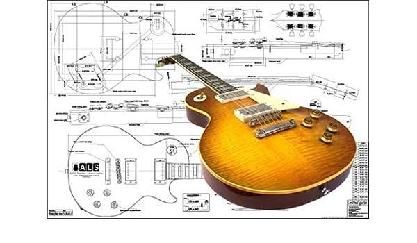 Plan de Gibson Les Paul 59 para guitarra eléctrica - escala completa impresión: Amazon.es: Instrumentos musicales