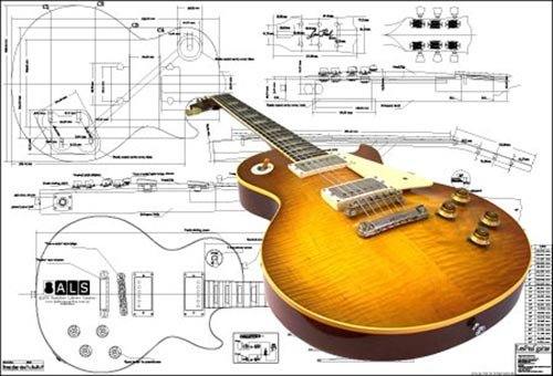 Plan of Gibson Les Paul '59 Electric Guitar - Full Scale Print