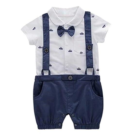 eb03aa481 Minetom Bebés Trajes De Bautizo Camisa Bow Tie Tirantes Shorts Correa Niños  Formales Fiesta Outfit Gentleman Mameluco Monos Sets 0-24 Mes: Amazon.es:  Ropa y ...
