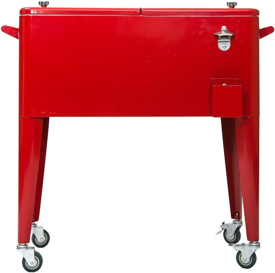 Permasteel PS-203-RED-2 80 Quart Patio Cooler, Red