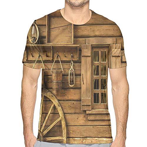 Jinguizi Mens t Shirt Western,Old Wagon Wheel and House HD Print t Shirt S ()
