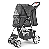 Flexzion Pet Stroller Dog Cat Small Animals Carrier Cage 4 Wheels Folding Flexible Easy Walk for Jogger Jogging Travel Up to 30 Pounds With Rain Cover Cup Holder and Mesh Window, Black