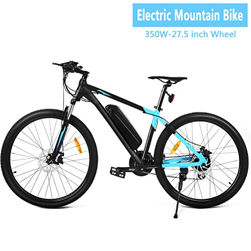 27.5in Electric Mountain Bike for Men Women with 36V Removable Lithium-Ion Battery, 350W 24 Speed Aluminum Alloy Frame Cycling Bicycle with LCD Display (US STOCK) by evokem