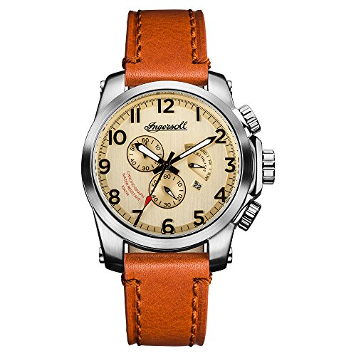 Ingersoll Men's Quartz Stainless Steel and Leather Casual Watch, Color:Brown (Model: I03001)