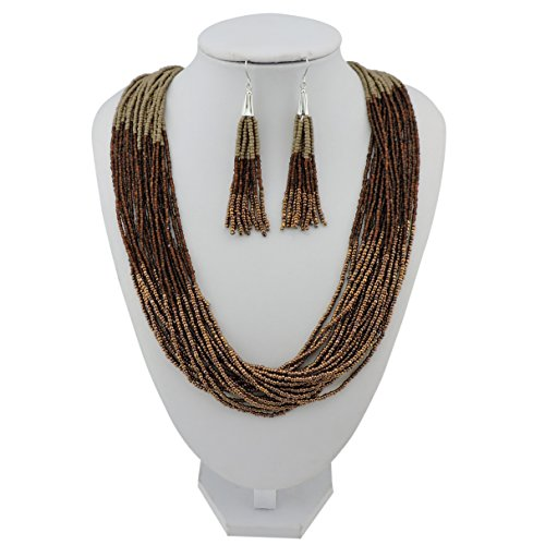 Bocar Multi Layer Beaded Statement Necklace Set Mix Strand Necklace and earrings for Women Gift (NK-10459-Dark khaki+coffee+antique (Antique Womens Beads)