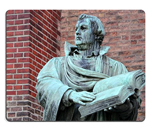 Liili Mouse Pad Natural Rubber Mousepad Martin Luther sculpture of Martin Luther in front of St Marien Church Berlin Photo 8807233