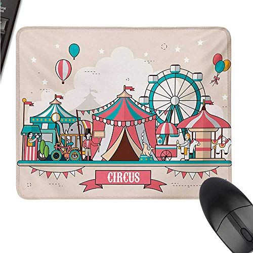 WQCBT Circus Galaxy Mouse pad Space Circus Facilities Scenery in Flat Design Style Balloons Children Park Illustration W16xL23.5 ()