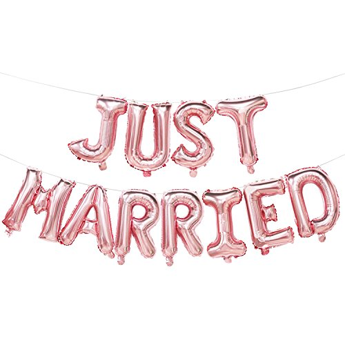 Just Married Balloons Banner | Rose Gold Just