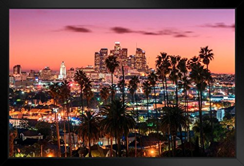 Los Angeles Framed Picture - Los Angeles California Skyline at Sunset Photo Art Print Framed Poster 20x14 inch