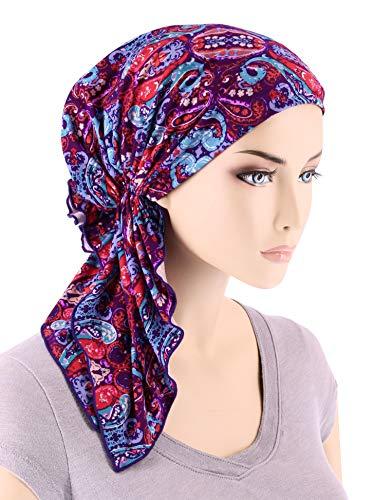 Fashion Tied Scarf (The Bella Scarf Chemo Turban Head Scarves Pre-Tied Bandana Cancer Purple Modern Damask)