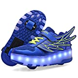Ufatansy USB Charging Shoes Roller Shoes Girls Roller Skate Shoes Boys Kids LED Light up Wheel Shoes Roller Sneakers Shoes Wheels for...