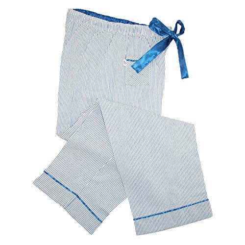 Seersucker Boxercraft - Boxercraft Womens Seersucker Pajama Pants with Satin Trim, Medium, Navy