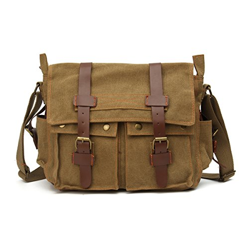 Khaki Messenger Bags (OURBAG Vintage Canvas Leather Military Shoulder Messenger Bag Khaki Medium)