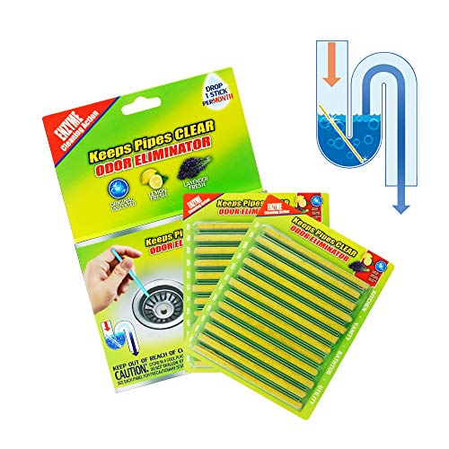 Daye Drain Cleaner Sticks Deodorizer Drain Strip Non-Toxic for Kitchen Bathroom Keeps Drains and Pipes Clear and Odor Prevent Clogs (24pcs) (Lemon)