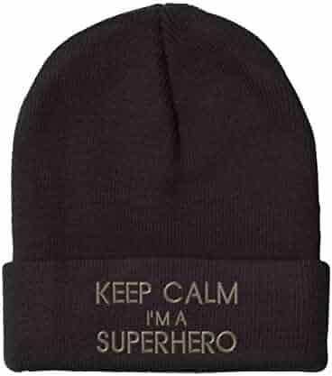 be6274a8f17 Speedy Pros Keep Calm I m A Superhero Embroidered Unisex Adult Acrylic  Beanie