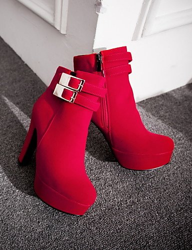 Moda Redonda Zapatos Uk6 Red A negro Punta Oficina Uk4 La Sintético Cono De 5 us8 Exterior Cn40 Trabajo Mujer us6 Y Xzz Blue Uk Casual Ante Tacón Eu36 Botas Cn36 5 Eu39 YwHvdnq