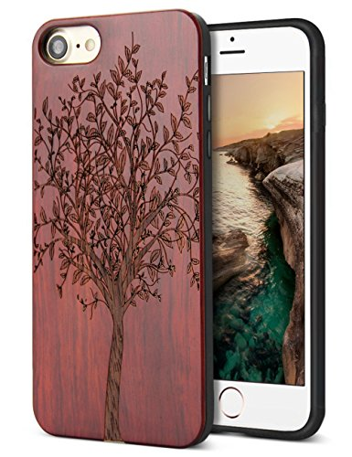 Unique iPhone 7 Case,iPhone 8 Case Wood,Natural Handmade Cool Real Wood Engraving Tree & Soft Rubber Cushion Protective Shock Absorption Flexible Anti-Scratch Bumper Case for Apple iPhone 7,iPhone 8 - Design Apple Iphone