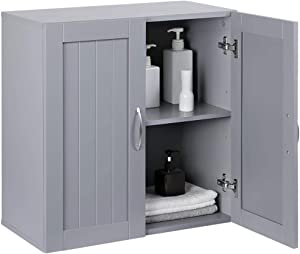 Yaheetech Bathroom Medicine Cabinet 2 Door Wall Mounted Storage Cabinet with Adjustable Shelf, 23.4in L x 12.2in W x 23.5in H, Gray