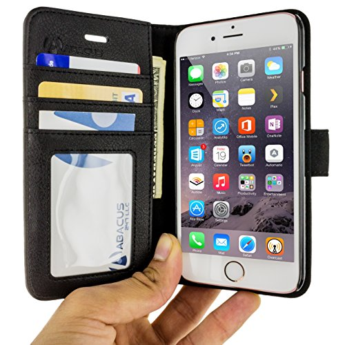 Abacus24-7 iPhone 6 and 6S Case, Wallet with RFID Blocking Flip Cover, Black