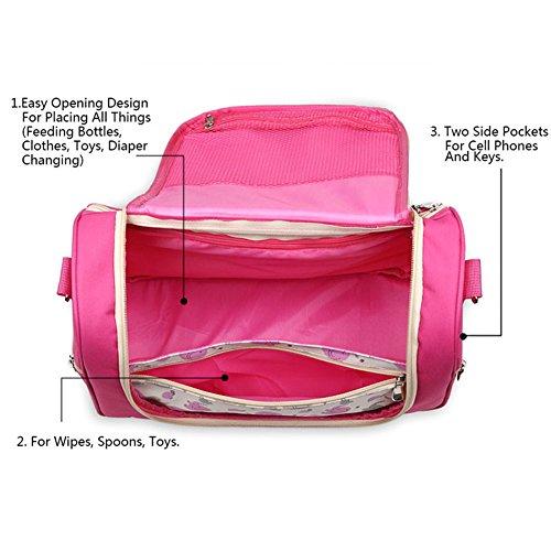 Kangming portátil resistente al agua Mummy bolso bandolera bebé pañal pañales cambiante bolsa Tote morado morado Rosa y rojo