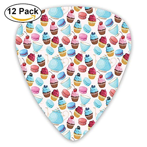 Teapots And Cups With Polka Dots Macarons Cupcakes With Berries Sweet Pattern Guitar Picks 12/Pack Set