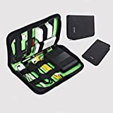Electronics Travel Organizer Bag, HAINAND Travel Cable Storage Bag for USB, Battery, Pens, CF Cards, SD Cards, Plug, Cables, Charger(Green)