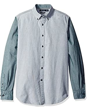 Men's Slim Fit Helmsman Oxford Color Block Shirt