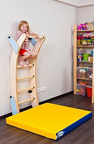Playground Set for Kids Which Connects to the Wall - Indoor Wooden Ladder Wall Mounted Training Sport Set - Climbing Wall Suit for Backyards, Schools and Doorway - Small Moon