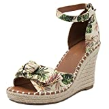 London Fog Womens Hype Open Toe Espadrille Wedge Sandals Tropical 10